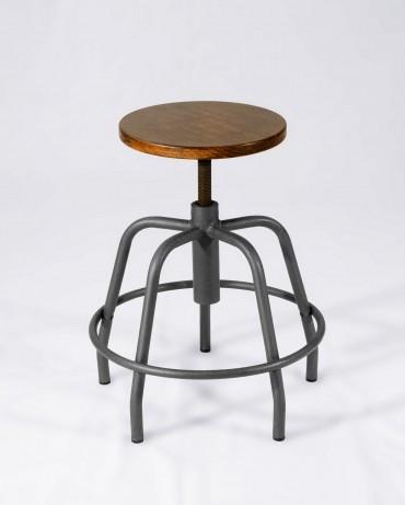 Taburete Carpintero recuperado en metal y madera con asiento regulable